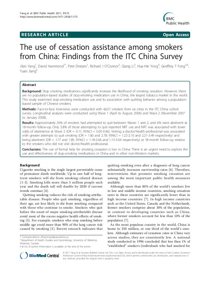 Yang et al. BMC Public Health 2011, 11:75http://www.biomedcentral.com/1471-2458/11/75 RESEARCH ARTICLE                    ...