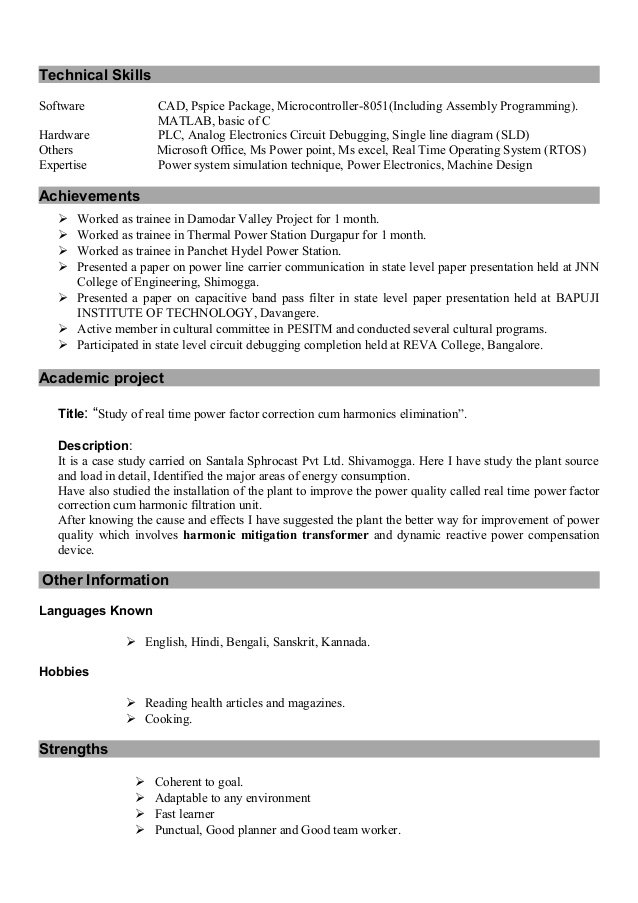 resume of trainer