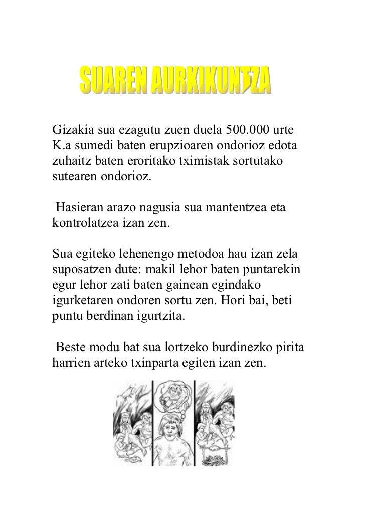 Gizakia sua ezagutu zuen duela 500.000 urte K.a sumedi baten erupzioaren ondorioz edota zuhaitz baten eroritako tximistak ...