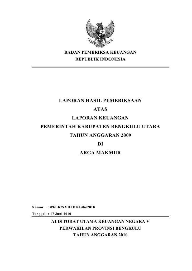 BADAN PEMERIKSA KEUANGAN                     REPUBLIK INDONESIA               LAPORAN HASIL PEMERIKSAAN                   ...