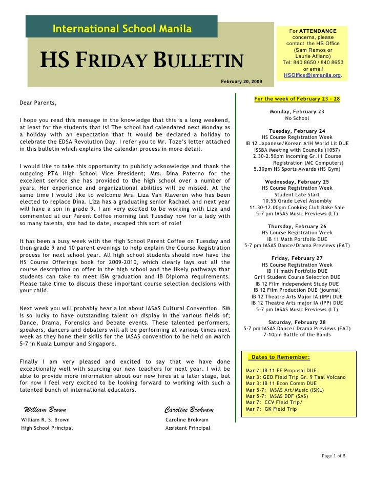 HS Friday Bulletin 02.20.09