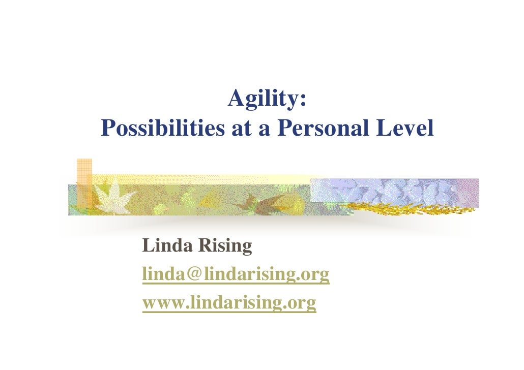 Agility Possibilities At A Personal Level