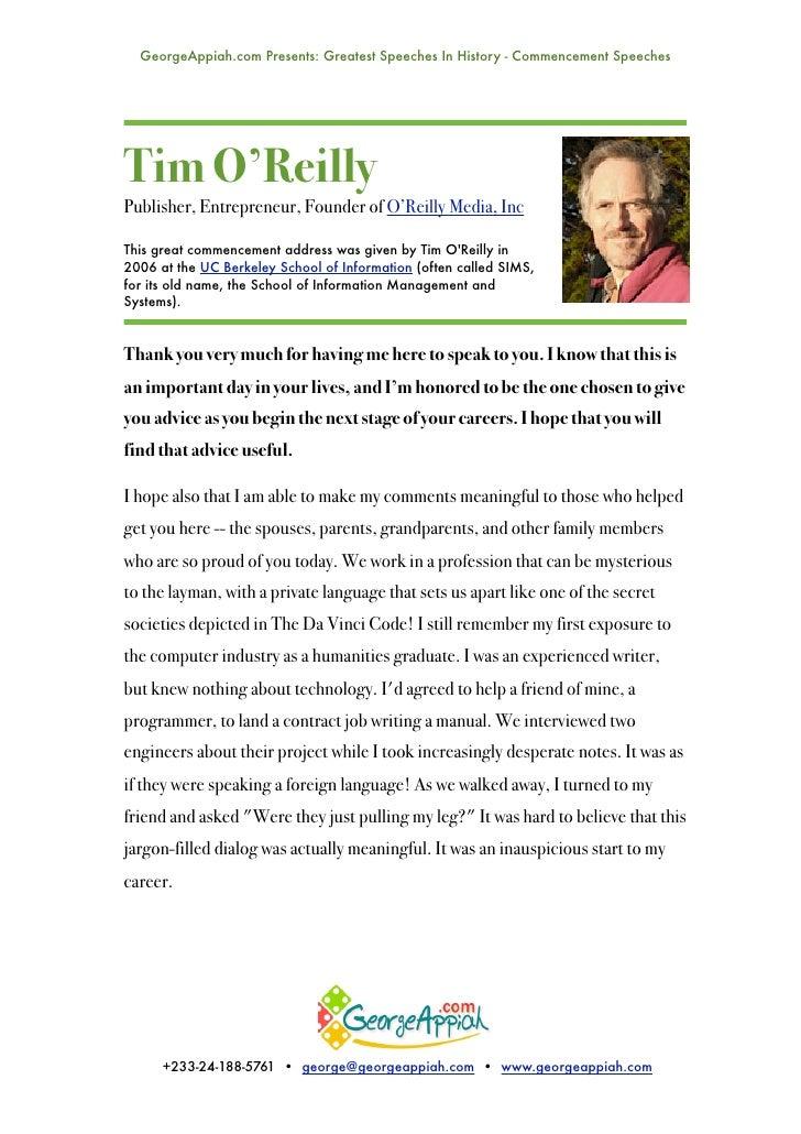 Tim O'Reilly's Commencement Speech At UC Berkeley SIMS