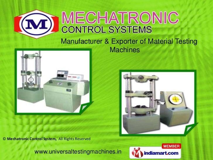 Mechatronic Control System Maharashtra  India