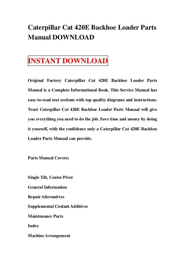 cat 420e backhoe parts manual