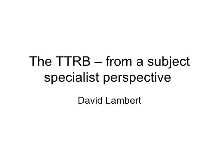 Dave Lambert TTRB launch
