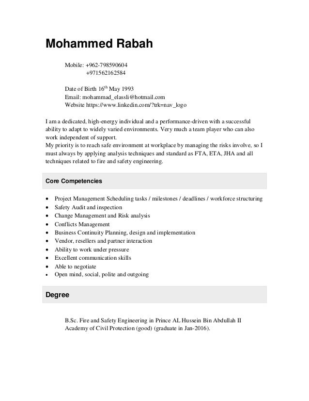 fire and safety engineer cv
