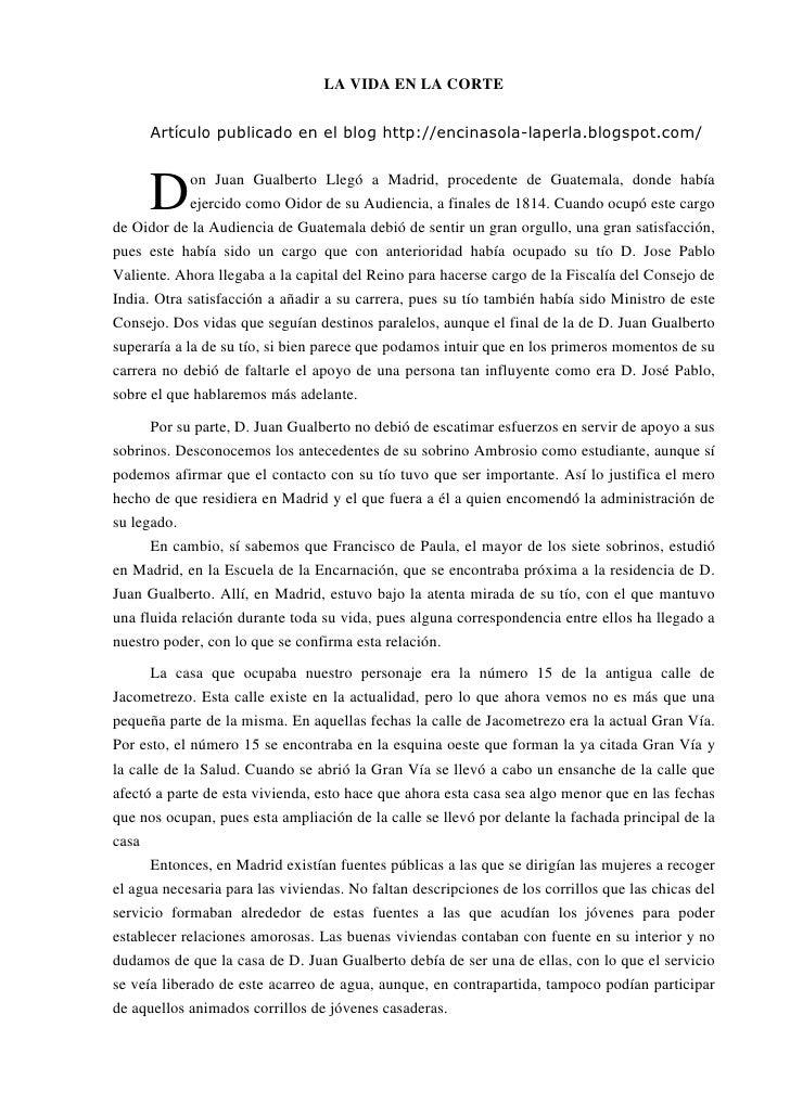 LA VIDA EN LA CORTE         Artículo publicado en el blog http://encinasola-laperla.blogspot.com/          D      on Juan ...
