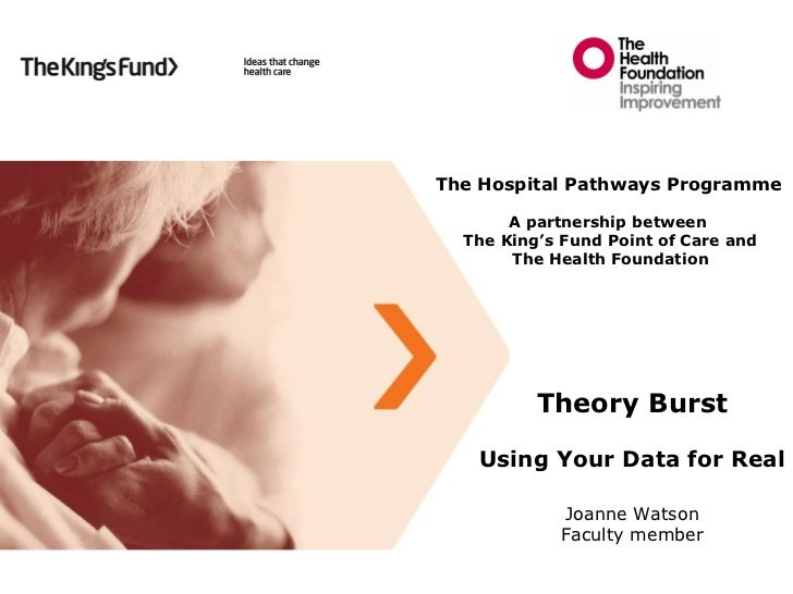 Theory Burst Using Your Data for Real Joanne Watson Faculty member The Hospital Pathways Programme A partnership between  ...