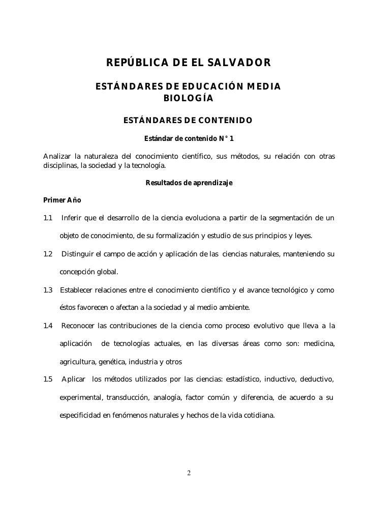 REPÚBLICA DE EL SALVADOR                     ESTÁNDARES DE EDUCACIÓN MEDIA                              BIOLOGÍA          ...