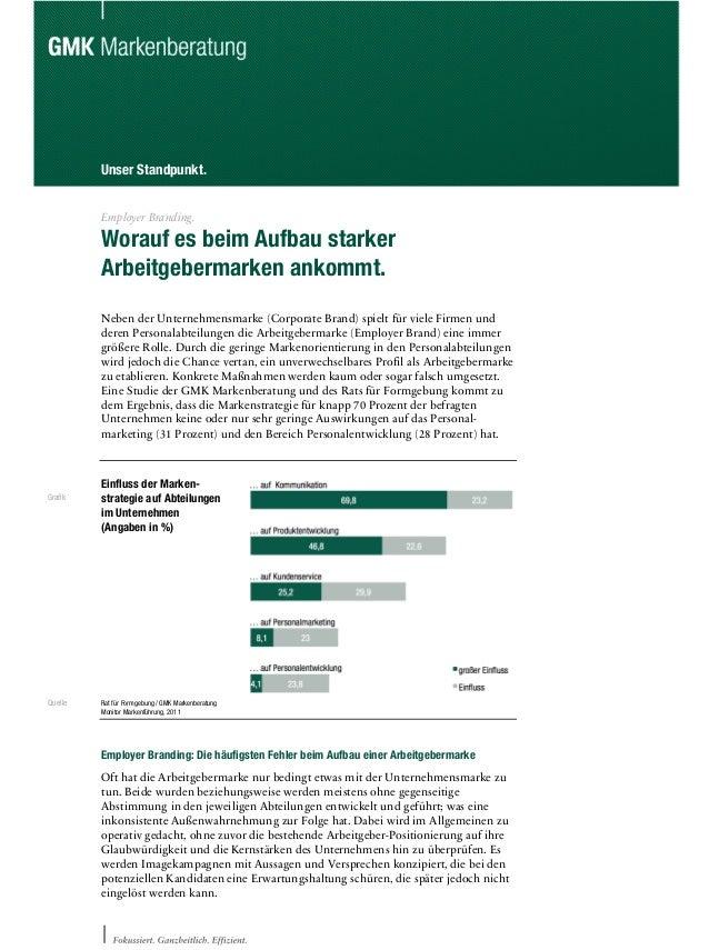 Unser Standpunkt. Employer Branding. Worauf es beim Aufbau starker Arbeitgebermarken ankommt. Neben der Unternehmensmarke ...