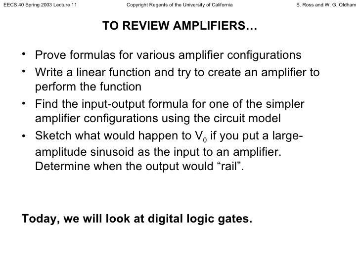 TO REVIEW AMPLIFIERS… <ul><li>Prove formulas for various amplifier configurations  </li></ul><ul><li>Write a linear functi...