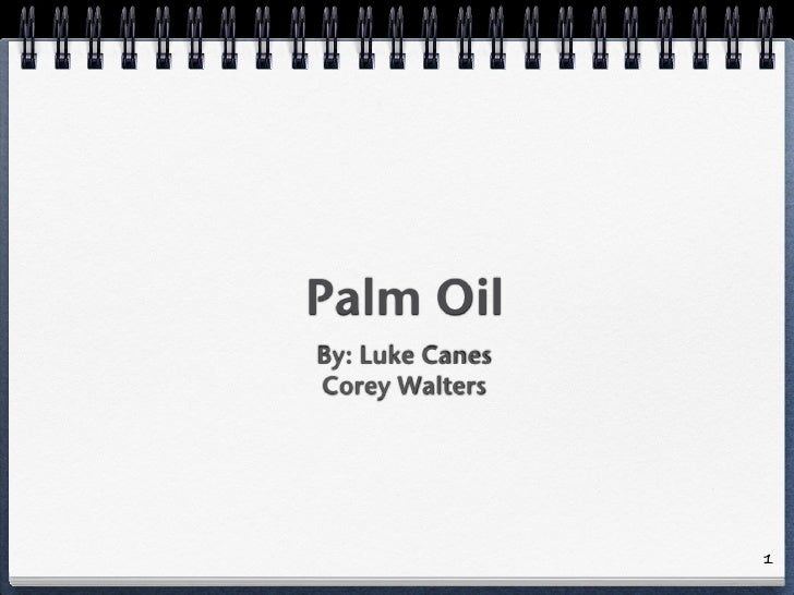 Palm Oil By: Luke Canes Corey Walters                      1