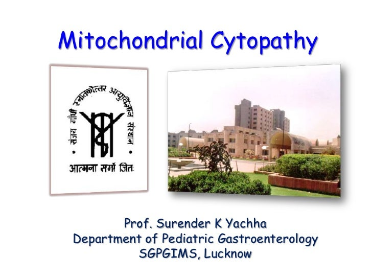Mitochondrial Cytopathy        Prof. Surender K Yachha Department of Pediatric Gastroenterology          SGPGIMS, Lucknow