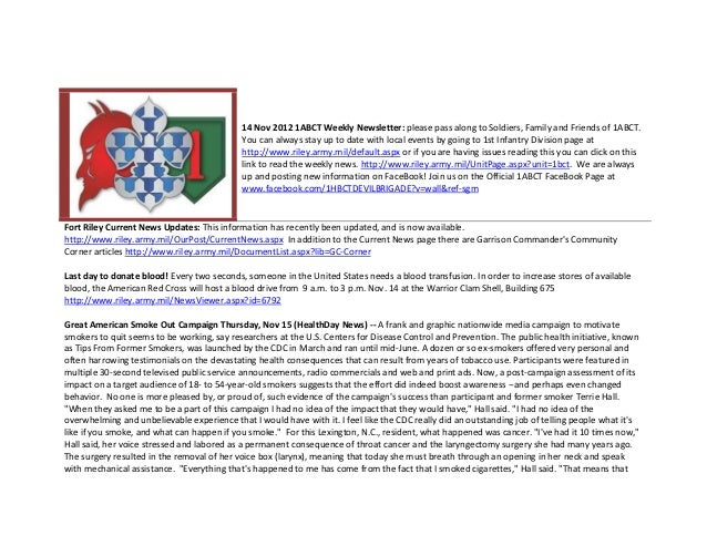 14 Nov 2012 1ABCT Weekly Newsletter: please pass along to Soldiers, Family and Friends of 1ABCT.                          ...