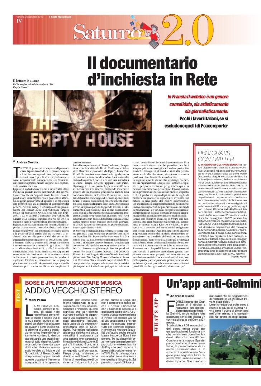 Venerdì 20 gennaio 2012     il Fatto Quotidiano     IV                                                                    ...