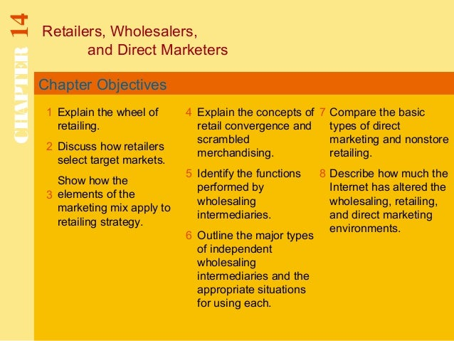 Chapter Objectives Retailers, Wholesalers, and Direct Marketers CHAPTER14 1 2 4 7 8 Explain the wheel of retailing. Discus...