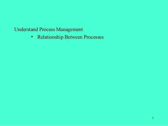 Understand Process Management       • Relationship Between Processes                                          1