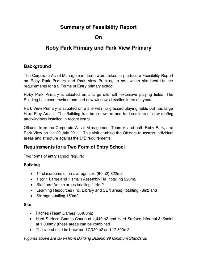 Summary of Feasibility Report On Roby Park Primary and Park View Primary Background The Corporate Asset Management team we...