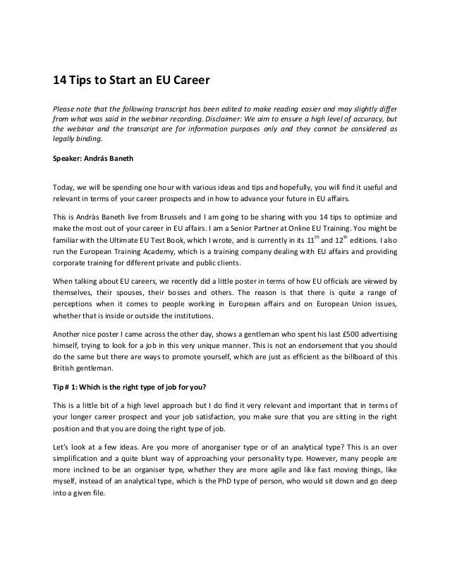 14 tips to start an eu career
