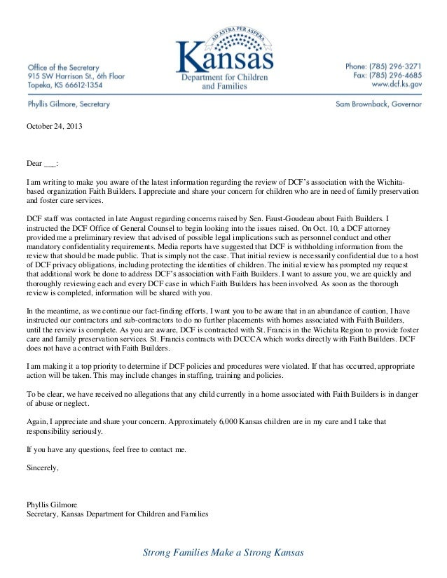 October 24, 2013  Dear ___: I am writing to make you aware of the latest information regarding the review of DCF's associa...