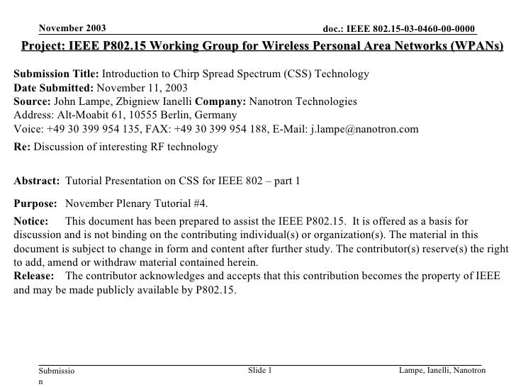 Project: IEEE P802.15 Working Group for Wireless Personal Area Networks (WPANs) Submission Title:  Introduction to Chirp S...