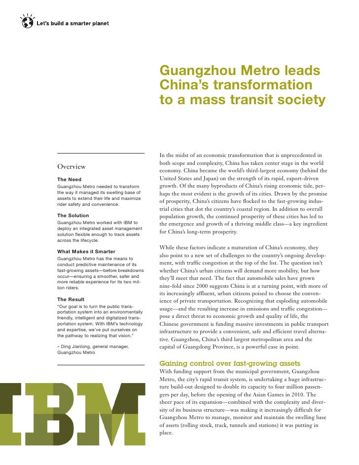 IBM Maximo Asset Management Software helps Guangzhou Metro lead China's transformation to a mass transit society