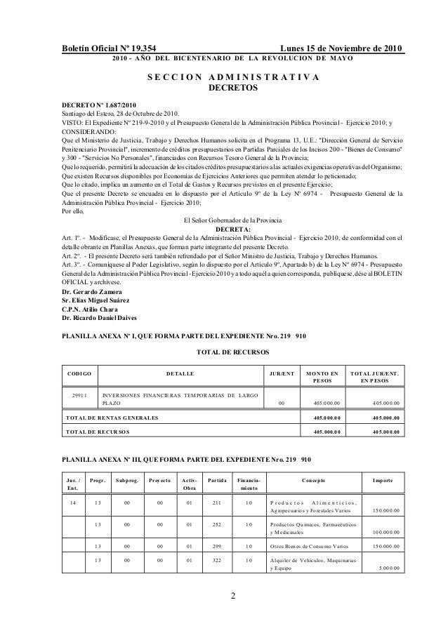 Boletín Oficial Nº 19.354 Lunes 15 de Noviembre de 2010 2010 - AÑO DEL BICENTENARIO DE LA REVOLUCION DE MAYO 2 S E C C I O...