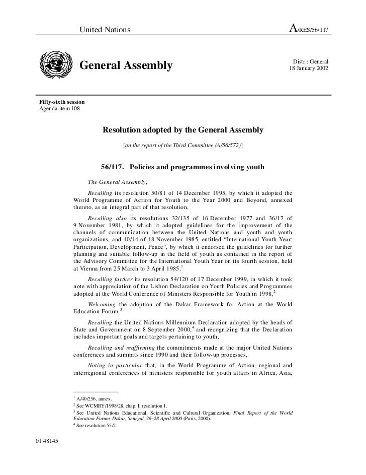 2001 - General Assembly resolution on Policies and Programmes Involving Youth (A/RES/56/117)