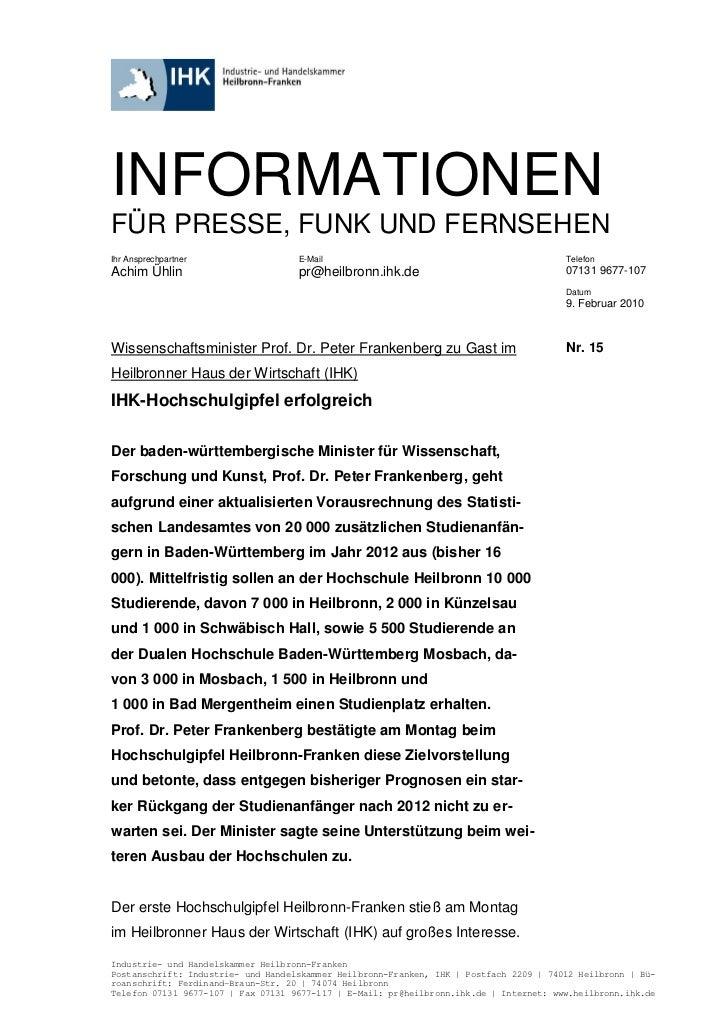 INFORMATIONENFÜR PRESSE, FUNK UND FERNSEHENIhr Ansprechpartner                 E-Mail                                     ...