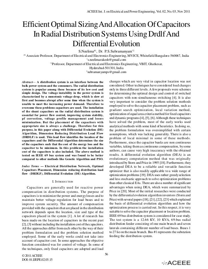ACEEE Int. J. on Electrical and Power Engineering, Vol. 02, No. 03, Nov 2011Efficient Optimal Sizing And Allocation Of Cap...