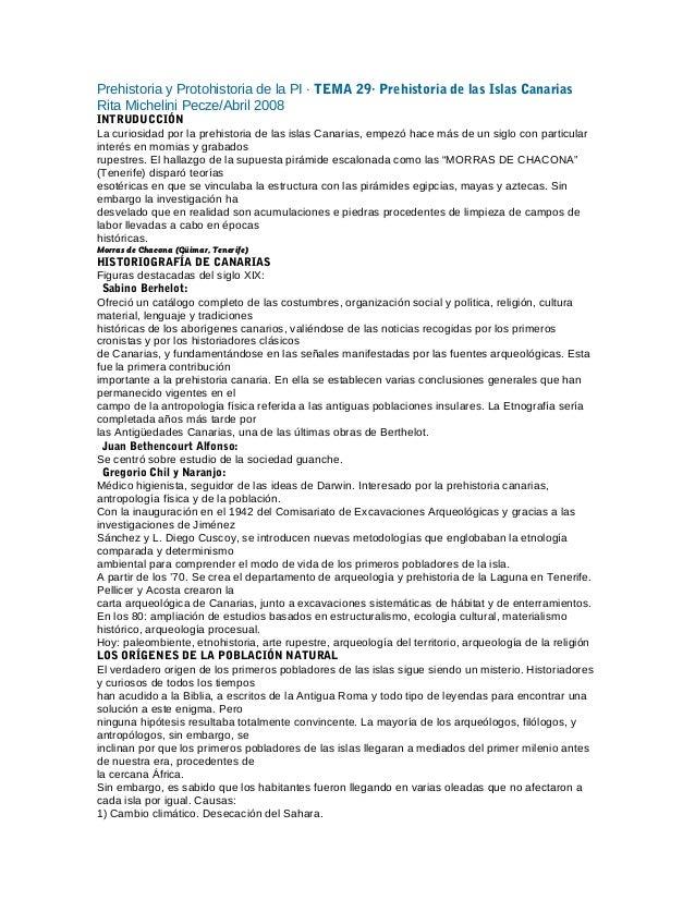 Prehistoria y Protohistoria de la PI · TEMA 29· Prehistoria de las Islas Canarias Rita Michelini Pecze/Abril 2008 INTRUDUC...