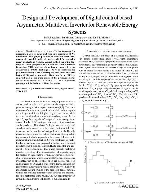 Design and Development of Digital control based Asymmetric Multilevel Inverter for Renewable Energy Systems
