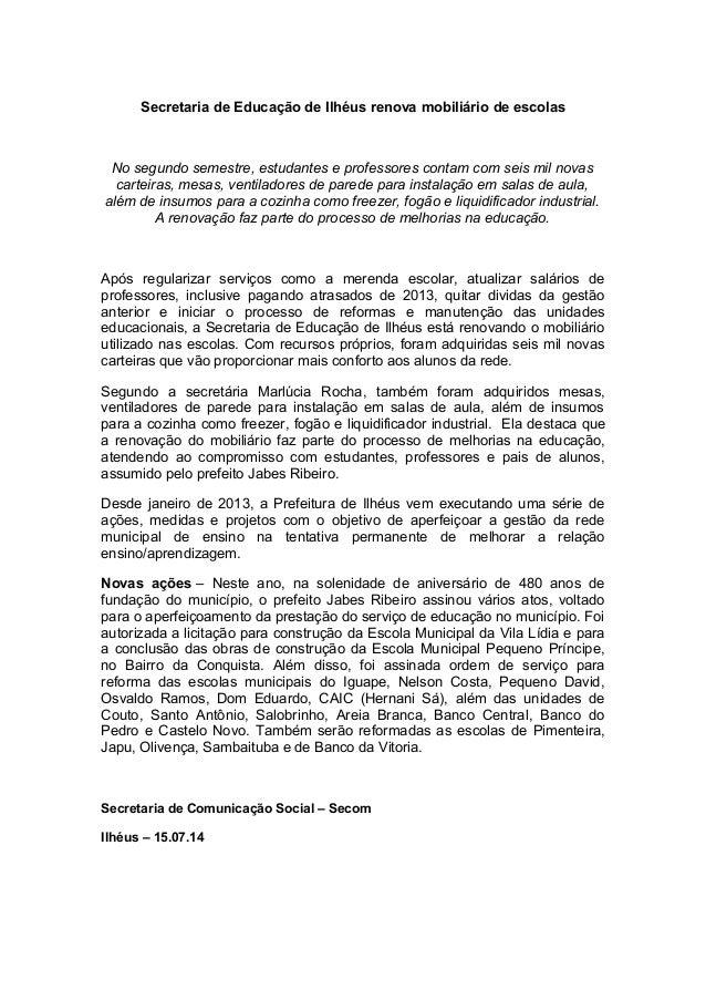 15.07.14.Secretaria de Educação de ilhéus renova mobiliário de escolas