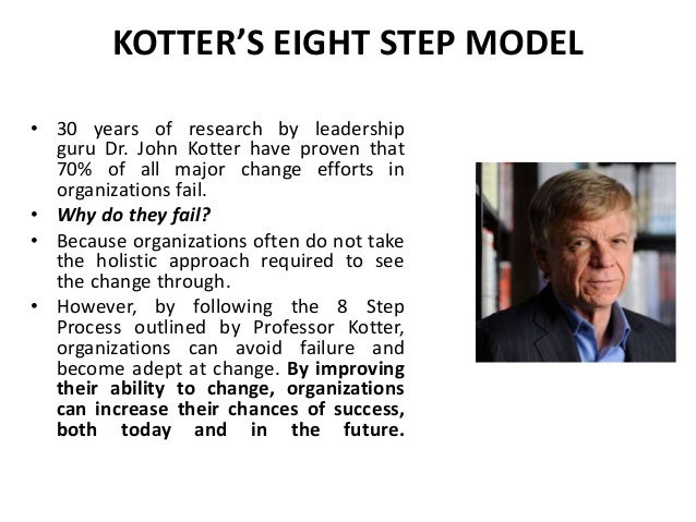 john kotters change model essay Kotter's 8-step change model implementing change powerfully and successfully change is the only constant - heraclitus,  change management guru, john kotter.