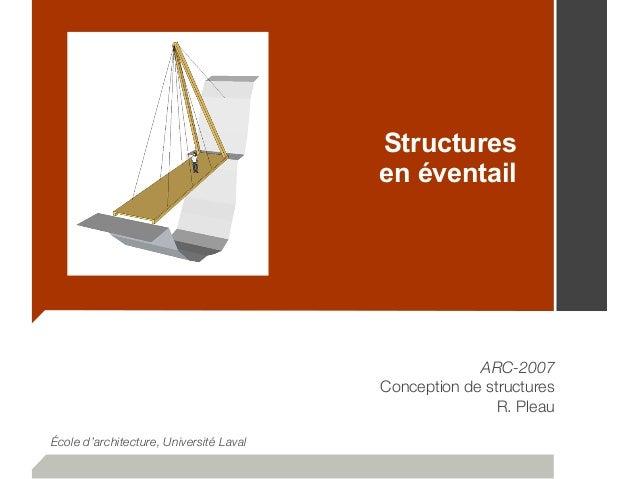 Structures en éventail ARC-2007 Conception de structures R. Pleau École d'architecture, Université Laval