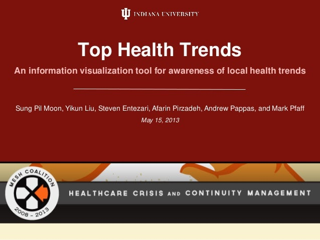 An information visualization tool for awareness of local health trends Top Health Trends Sung Pil Moon, Yikun Liu, Steven ...