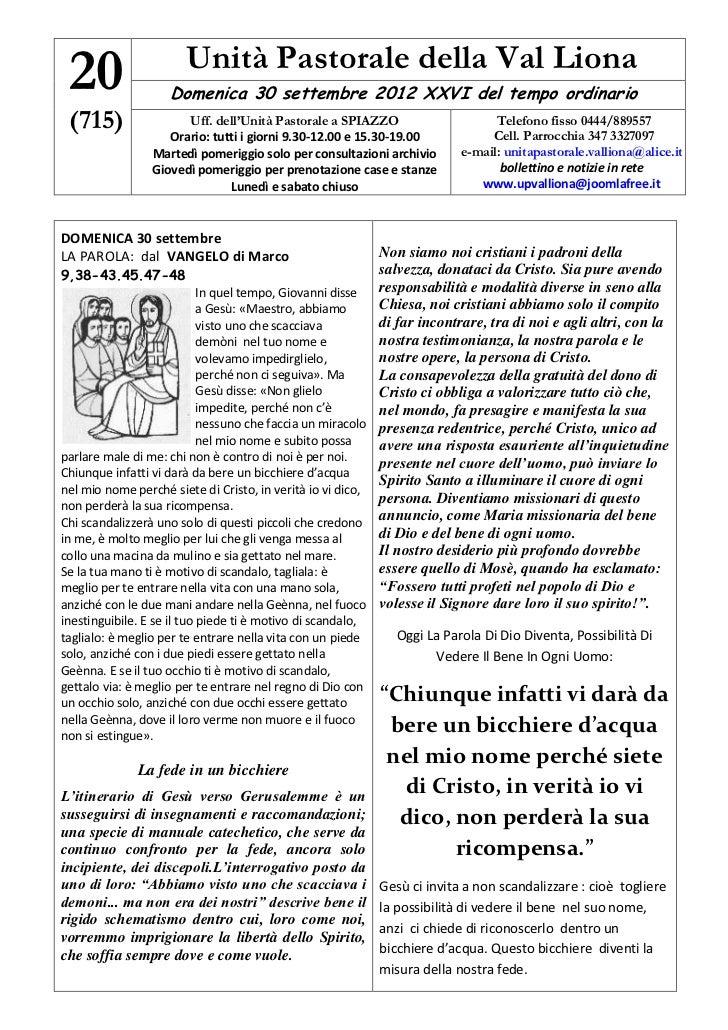 20                     Unità Pastorale della Val Liona                    Domenica 30 settembre 2012 XXVI del tempo ordina...