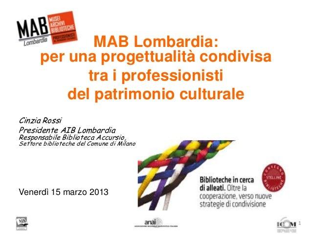 MAB Lombardia:per una progettualità condivisatra i professionistidel patrimonio culturaleCinzia RossiPresidente AIB Lombar...