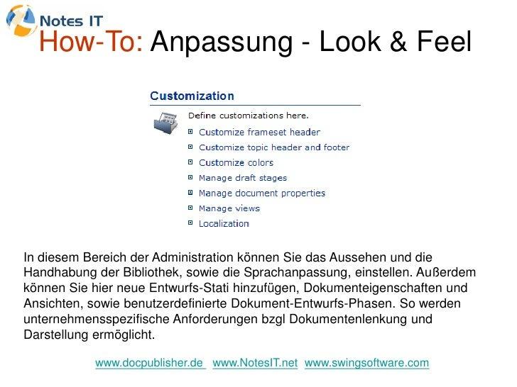 How-To: Anpassung - Look & Feel     In diesem Bereich der Administration können Sie das Aussehen und die Handhabung der Bi...