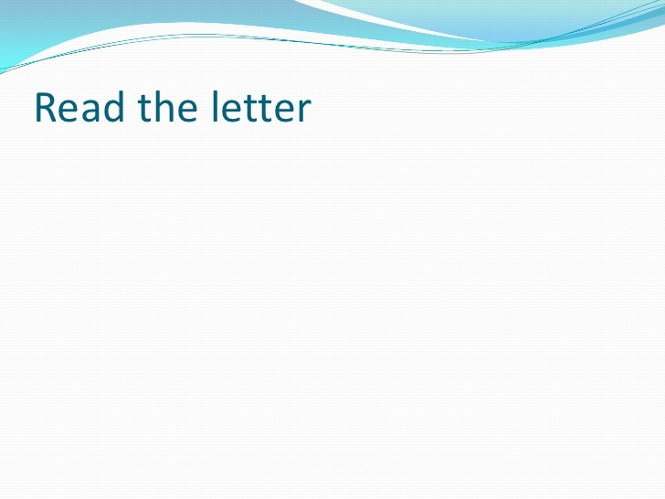 Read the letter<br />