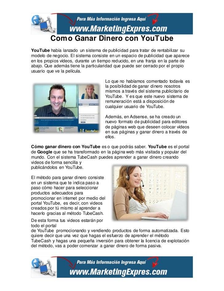 Como Ganar Dinero con YouTubeYouTube había lanzado un sistema de publicidad para tratar de rentabilizar sumodelo de negoci...