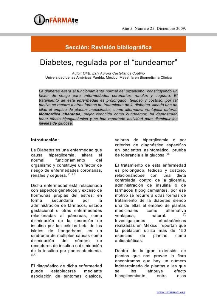 Año 5, Número 25. Diciembre 2009.                          Sección: Revisión bibliográfica          Diabetes, regulada por...
