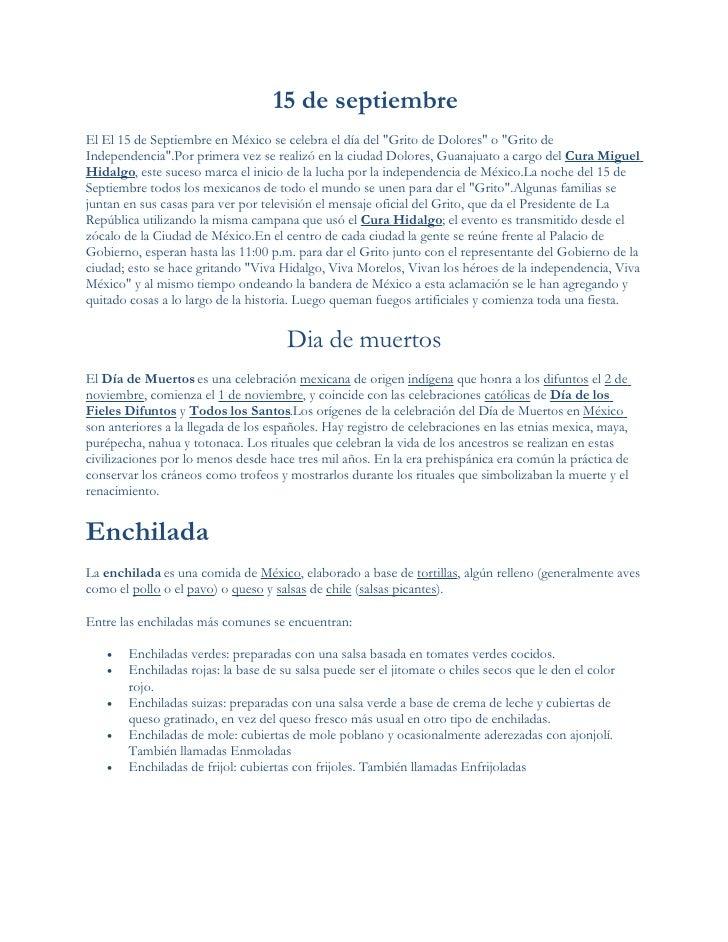 15 de septiembre El El 15 de Septiembre en México se celebra el día del quot;Grito de Doloresquot; o quot;Grito de Indepen...