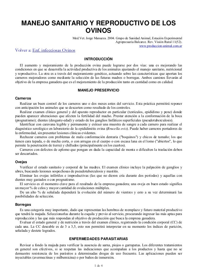 1 de 4MANEJO SANITARIO Y REPRODUCTIVO DE LOSOVINOSMed.Vet. Jorge Manazza. 2004. Grupo de Sanidad Animal, Estación Experime...