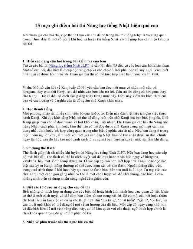 15 mẹo ghi điểm bài thi Năng lực tiếng Nhật hiệu quả caoKhi tham gia các bài thi, việc thành thạo các chủ đề có trong bài ...