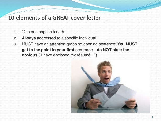 15 minute cover letter makeover ... 3. 10 elements of a GREAT cover letter ...
