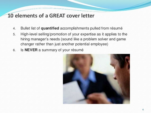 15 minute cover letter makeover 3; 4. 10 elements of a GREAT cover letter ...