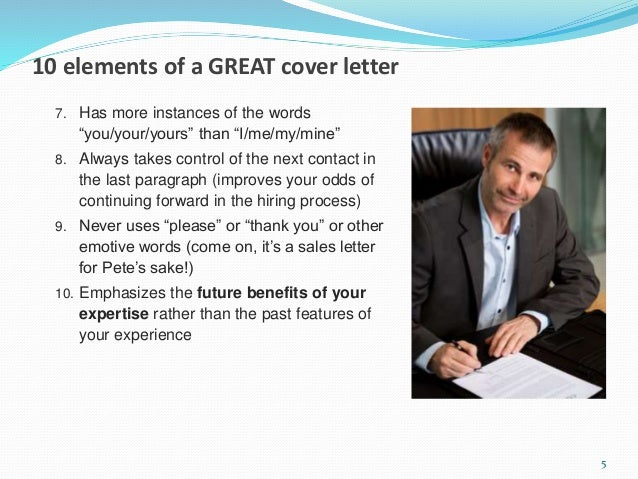 15 minute cover letter makeover ... 5. 10 elements of a GREAT cover letter ...