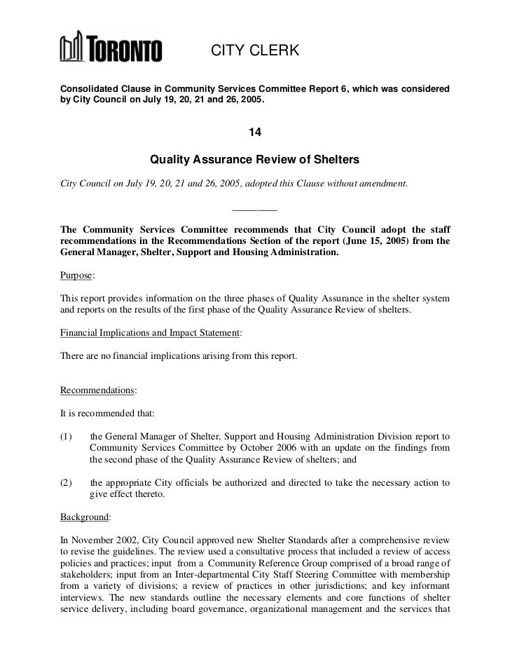 Quality Assurance Review of Shelters